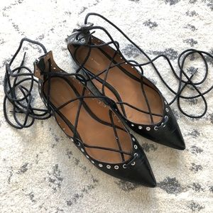 Zara Grommet Lace Up Flats Size 7.5/38